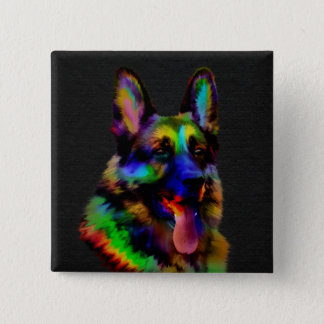 German Shepherd dog - GSD Portrait 2 Inch Square Button