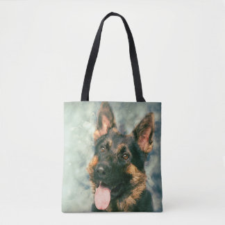 German Shepherd dog - GSD Portrait Tote Bag