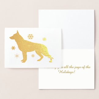 German Shepherd Dog GSD Snowflakes Foil Card
