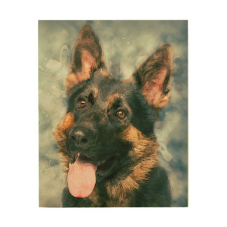 German Shepherd Dog  - GSD watercolor painting Wood Wall Decor
