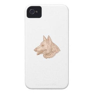 German Shepherd Dog Head Mono Line Case-Mate iPhone 4 Cases