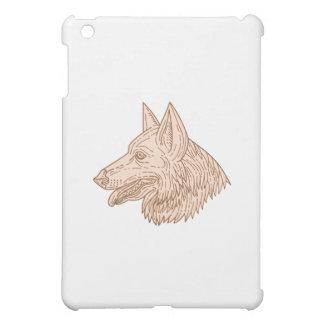German Shepherd Dog Head Mono Line Cover For The iPad Mini