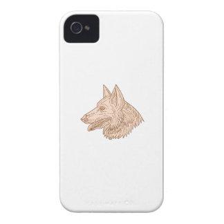 German Shepherd Dog Head Mono Line iPhone 4 Case-Mate Case