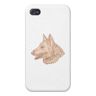 German Shepherd Dog Head Mono Line iPhone 4 Cases