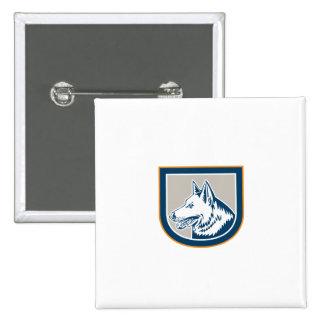 German Shepherd Dog Head Shield Retro Badge