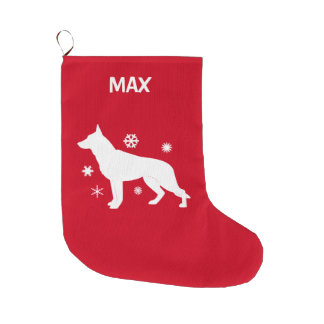 German Shepherd Dog in the Snow in Silhouette Large Christmas Stocking