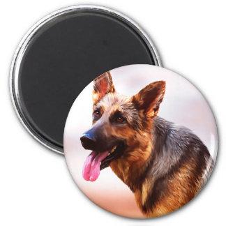 German Shepherd Dog Oil Painting Art Portrait Canv Magnet