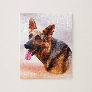 German Shepherd Dog Oil Painting Art Portrait Jigsaw Puzzle