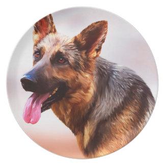 German Shepherd Dog Oil Painting Art Portrait Plate