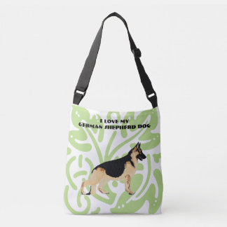 German Shepherd Dog on green print Crossbody Bag