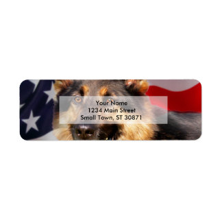 German shepherd Dog Patriot Red Blue White Return Address Label