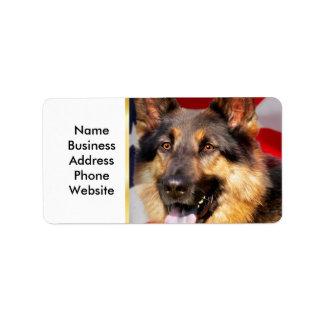 German shepherd Dog Patriot Red Blue White Address Label