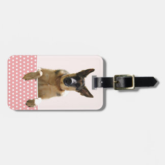 German Shepherd Dog Pink Polka Dots Bag Tag