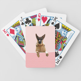 German Shepherd Dog Pink Polka Dots Bicycle Playing Cards