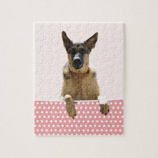 German Shepherd Dog Pink Polka Dots Puzzle