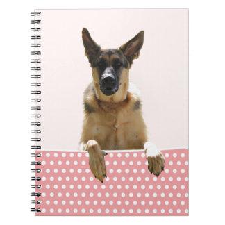 German Shepherd Dog Pink Polka Dots Spiral Notebooks