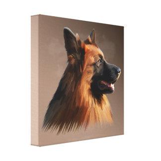 German Shepherd Dog Portrait Art Painting Canvas Print