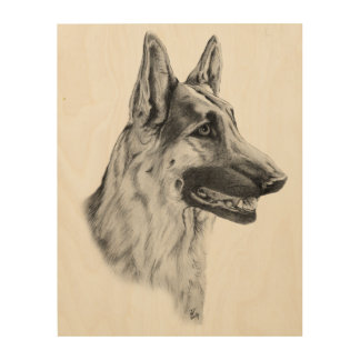 German Shepherd Dog Portrait Wood Wall Art