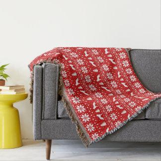German Shepherd Dog Silhouettes Christmas Pattern Throw Blanket