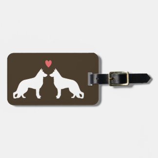 German Shepherd Dog Silhouettes with Heart Bag Tag