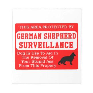 german shepherd dog surveillance notepad