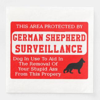 german shepherd dog surveillance paper napkin