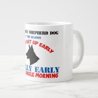 German Shepherd Dog Wake Up Walk take me out Large Coffee Mug