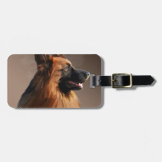 German Shepherd Dog Watercolor Art Portrait Luggage Tag