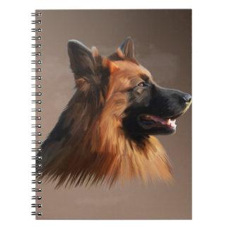 German Shepherd Dog Watercolor Art Portrait Note Book