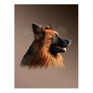 German Shepherd Dog Watercolor Art Portrait Postcard