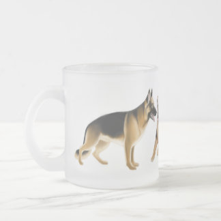 German Shepherd Dogs Frosted Glass Mug