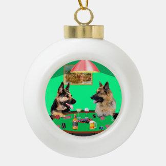 German Shepherd dogs Playing Poker Ceramic Ball Ornament