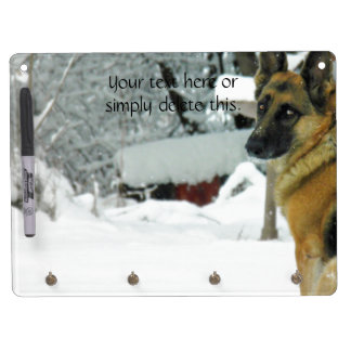 German Shepherd Dry Erase Board With Keychain Holder