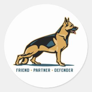 German Shepherd Friend Round Sticker