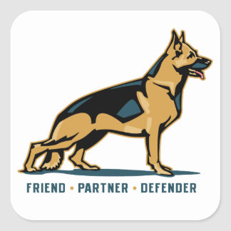 German Shepherd Friend Square Sticker