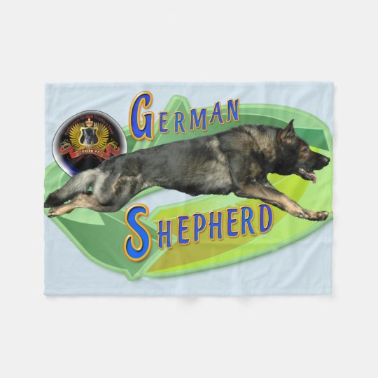 German Shepherd Full Stride Fleece Blanket