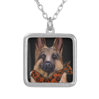 German Shepherd Halloween Silver Plated Necklace