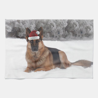 German Shepherd Holiday Kitchen Towel