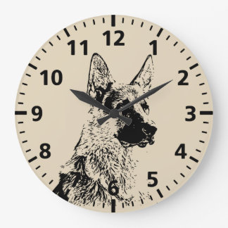 German Shepherd Large Clock