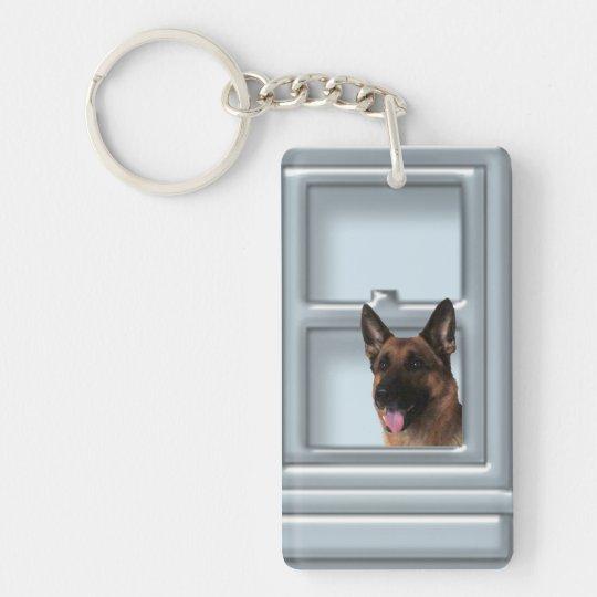 German Shepherd Looking Out The Window Single-Sided Rectangular Acrylic Keychain