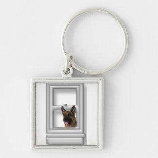 German Shepherd Looking Out Window Keychain