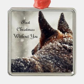 German Shepherd Lost Pet Memorial Silver-Colored Square Ornament
