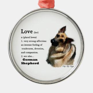 German Shepherd Love Is Metal Ornament