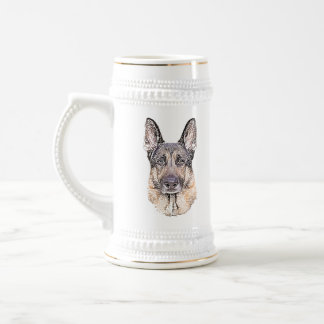 German Shepherd Man's Best Friend Portrait Beer Stein