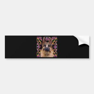 German Shepherd Mardi Gras Bumper Sticker