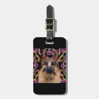 German Shepherd Mardi Gras Luggage Tag
