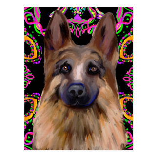 German Shepherd Mardi Gras Postcard