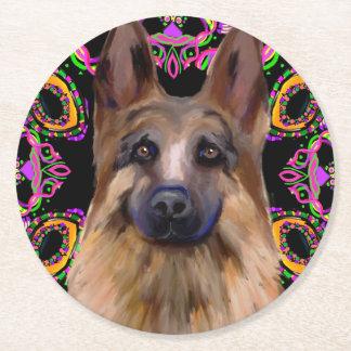 German Shepherd Mardi Gras Round Paper Coaster