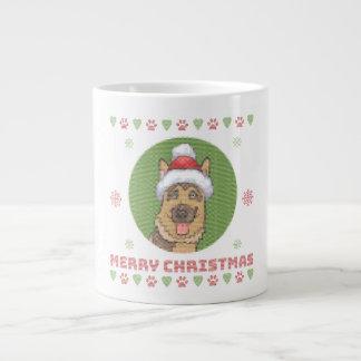 German Shepherd Merry Christmas Knit Pattern Large Coffee Mug