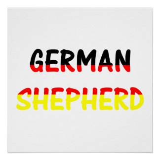 german shepherd name in flag poster